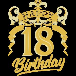 18 Jahre Geburtstag Happy Bday Birthday Geschenk