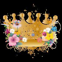 goldene Krone mit Blumen