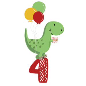 Vierter Geburtstag Junge T Rex Dinosaurier