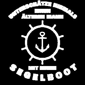 Älterer Mann mit Segelboot-Segler-Kapitän-T-Shirt