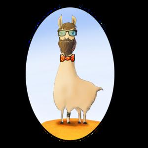 Hipster Lama mit Bart