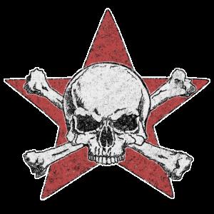 totenkopf und roter stern