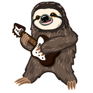 Faultier Sloth Musik Gitarre Rock Musiker Geschenk