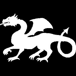 Drache Mittelalter Geschenk Idee Weiß