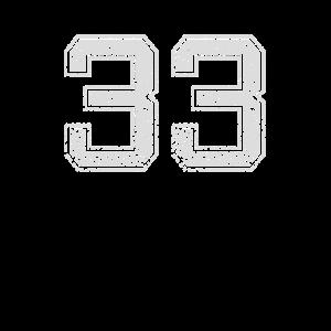 Nummer 33 Zahl Dreiunddreißig Drei Drei Geschenk