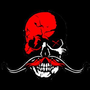 Kopf des Totenkopfschnurrbart-Hippie-Kranichschnurrbartes