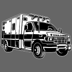 Krankenwagen / Rettungswagen 01_schwarz weiß