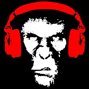 Gorilla mit Kopfhörer - Affe Musik Bass Geschenk