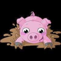 Planschendes Comic Schweinchen