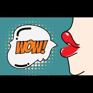 Popart Comic Wow Sprechblase Mund Lippen