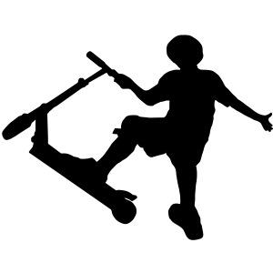 Stunt Scooter Fahrer beim Tricksen