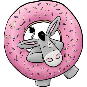 Kuschelesel mit Donut