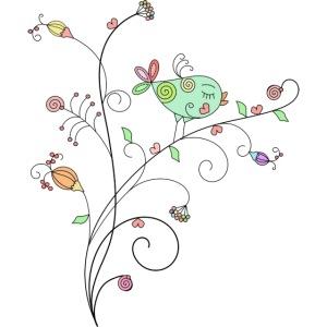 Bird Floral branch design