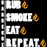 Rub Smoke Eat Repeat - Barbecue BBQ Grill Shirt