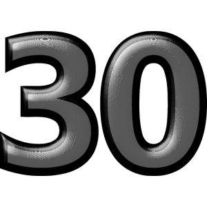 30 30er dreißig Zahl Ziffer Nummer Geburtstag