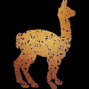 Lama Alpaka #1 Gold Glitzer Geschenk Geschenkidee
