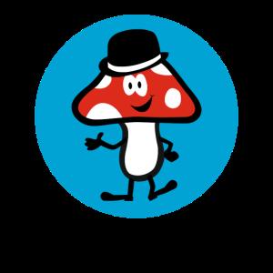 Lucky Mushroom on blue