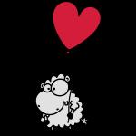 Liebes Schaf - mit Herz Ballon