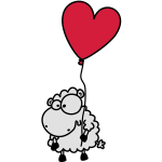 Love Sheep - with heart balloon