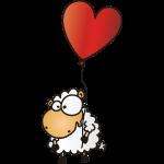 Valentins Schaf - mit rotem Herz Ballon