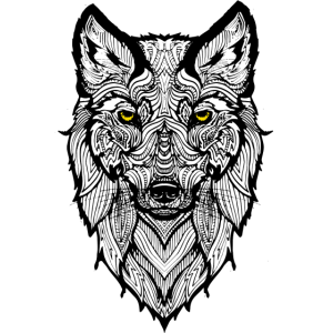 Gefährlicher Wolf mit gelben Augen