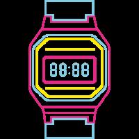 Digitaluhr in Neon Farben 80s