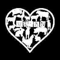 Süßes Veganer Tiere Herz Veggie Geschenk Vegan