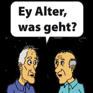 EY Alter, was geht 2 Rentner mit Sprechblase