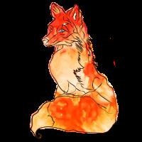 Fuchs Kalligraphie Feuer