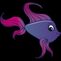 Comic Fisch violett