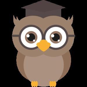 Akademische Eule mit Brille