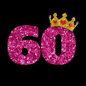 Glitter 1960 60 Jahre Geburtstag Pailletten Krone