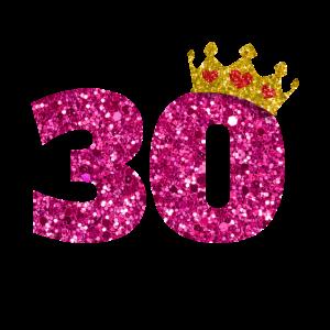 Glitter 1990 30 Jahre Geburtstag Pailletten Krone