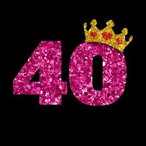 Glitter 1980 40 Jahre Geburtstag Pailletten Krone