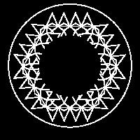 Modernes Geo Mandala Design in weiß