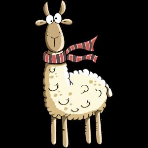 Lama mit Trendy Schal - Lamas - Alpaka - Comic