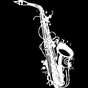 weißes Saxophon Graffiti