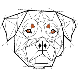 Geometrischer Rottweiler (schwarz und weiß)