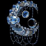 Lune dentelle bleue fonce
