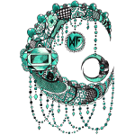 Lune dentelle Turquoise