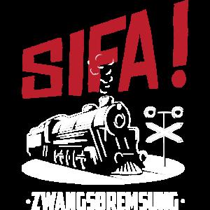 Eisenbahner Zugführer Eisenbahn Zwangsbremsung