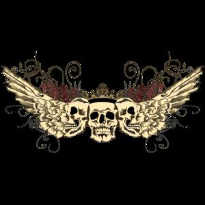 Kopf des Todes Gesicht Profil Flügel Schädel Kran gehen fa