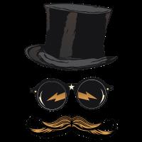 Hut Hipster Schnurrbart Runde Sonnenbrille