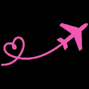 Flugzeug Flieger mit Herz in pink
