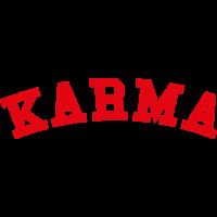 Karma Motiv Schriftzug College Rot Geschenk Idee