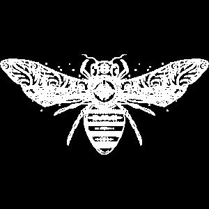 kunstvoll gestaltete weiße Biene