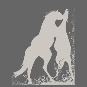Zwei graue spielende Pferde mit ornamental Frame