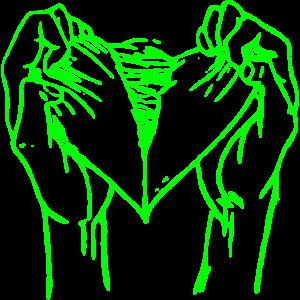 Zerrissenes herz neon gruen