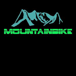 Mountainbike Schriftzug mit Bergkette