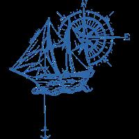 Blaues Schiff mit Kompass